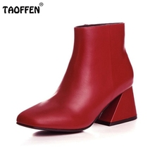 Woman Real Genuine Leather Ankle Boots Women Vintage Square Toe Botas Mujer Classical Zipper Shoes Footwear Size 34-39
