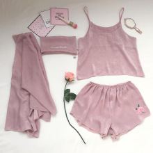 yomrzl A445 New arrival summer women's pajama set 4 piece sleep set rose embroidery sleepwear indoor clothes(China)