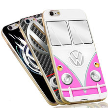Cool Pink Volkswagen Bus Soft Silicone TPU Cover for iPhone 6 6S 7 Plus 5S 5 SE 5C 4 4S VW Case