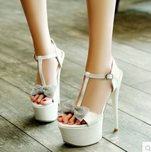 Hing days high European and American high-heeled 16CM sexy models high heels fine with waterproof table sandals queen bow shoes
