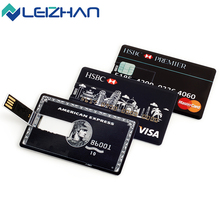 LEIZHAN USB Flash Drive Credit Card Personalized Logo Computer Memory Card 64g 32g 16g 8g 4g USB Stick Pen Drive Pendrive 2.0(China)