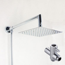 8 Inch Square Rainfall Shower Head Extension Shower Arm Bottom Entry With  T Adapter Shower Set 03 128