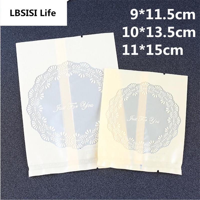 100Pcs Thicker Lace Round Just For You Clear Frosted Food Biscuit DIY Baking Cake Bags Gift Cookie Packing Flat Plastic Bag(China)