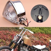 "8mm Vintage Retro 5.5"" Triangle Chrome Motorcycles H4 Hi/Lo Beam Headlight Clear Lens Headlamp for Harley Bobber Custom Chopper"