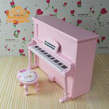 Mini Dollhouse Mini - furniture model instrument pink piano with Qin stool wooden toys