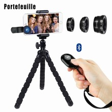 Portefeuille Smartphone Photography Kit Flexible Cell Phone Tripod Octopus Pod Bluetooth Remote Control Camera Shutter 3in1 Lens