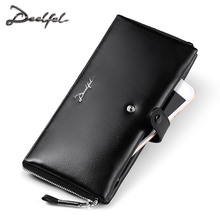 DEELFEL Men Wallets Genuine Leather Purse Business Male Walet High-Capacity Multi-Card Bit Long Wallet Clutches Bag Card Holder