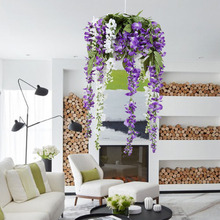 Boutique New Silk Wisteria Vines 12pcs 105cm Artificial Wisteria Flower Garlands for Wedding Photography DIY Home Decorations