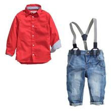 Childrens clothing set, Spring Gentleman solid Clothing Suit For 2-7years old kids, Red Shirt + Suspender Trousers R2-17H(China)