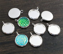 20pcs 12mm Inner Size Silver Plated Brass Material Simple Style Cabochon Base Cameo Setting Charms Pendant Tray (A1-06)