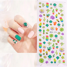 New Element Fresh cactus Nail Wrap Sticker for Decoration Water Transfer Nails Art Sticker Manicura sticker free shipping