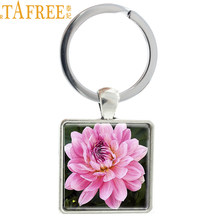 TAFREE Hot 19 Different Kinds of Flowers Rose Sunflower Peony Charm Keychain Plant Art Picture Keyrings Key Bag Accessories E444(China)