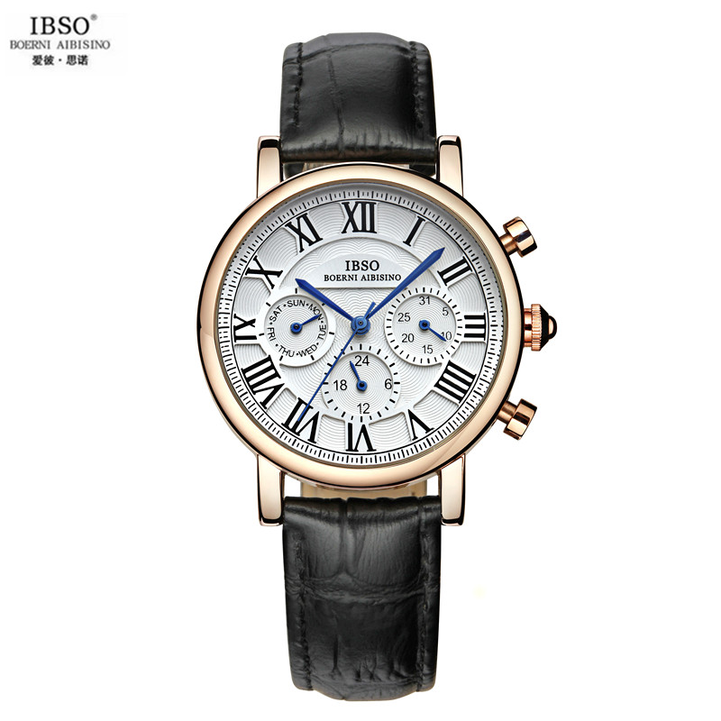 IBSO Han Edition Of The New Big Dial Watch Leather Fashion Table Six Stitches With Diamond Watches Female Waterproof Relogio<br>