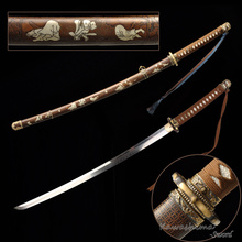 Kawashima Steel Handmade T10 Blade WWII Type 98 Gunto Japanese Officer Katana Sword Iron Saya With Pattern