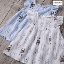 2022229 2017 New Summer Fashion Baby Girls Dresses Print Character Sleeveless Girl Dress Ruffles Kids Clothing Supplier Lots(China)