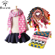 Children'S Muffler Autumn Summer And Winter Warm Scarf Children Baby Boy Girls Knitted Kids Candy Warm Neck Bib Stars Scarf
