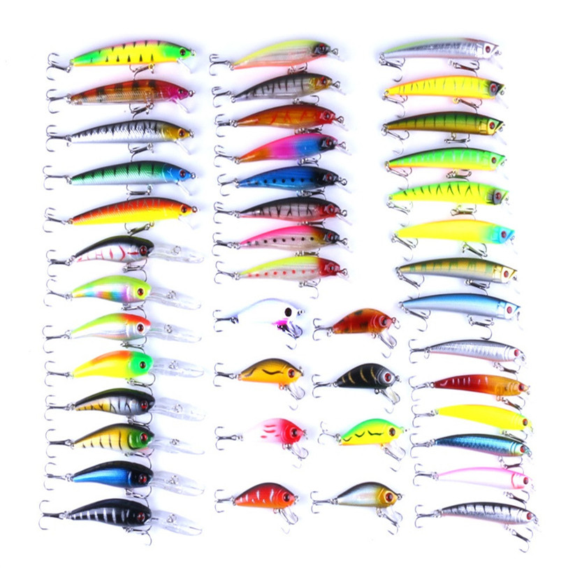 43X/set Mixed Models Fishing Lures 43 Clolor Mix Minnow Lure Crank Bait Ta Outdoor Fishing Lures Accessories Top Quality July 24<br>