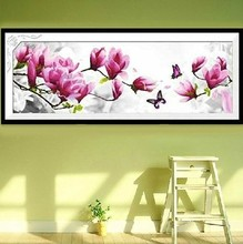 2017 new butterflies play magnolia DIY 5D diamond painting, cross stitch suite, diamond inlaid home decorations(China)