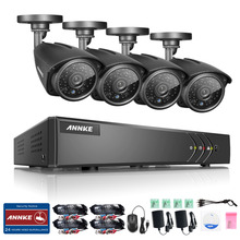 ANNKE 4CH CCTV System 720P AHD DVR 4PCS 1.0MP IR Weatherproof Outdoor Camera Home Security System Surveillance Kits Email Alert(China)