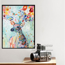 Large Art Canvas Nordic Style Animal Painting To Room Wall Watercolor Elk Decorative Simple Cute Deer European Painting No Frame