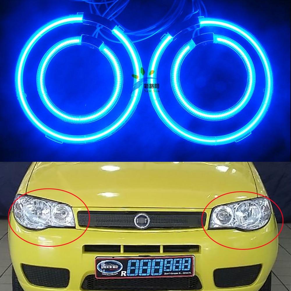 Multi-color Ccfl Angel Eyes Kit White 7000k Ccfl Halo Rings Headlight for Fiat Palio 2008 4 Rings + 2 CCFL Inverters<br>