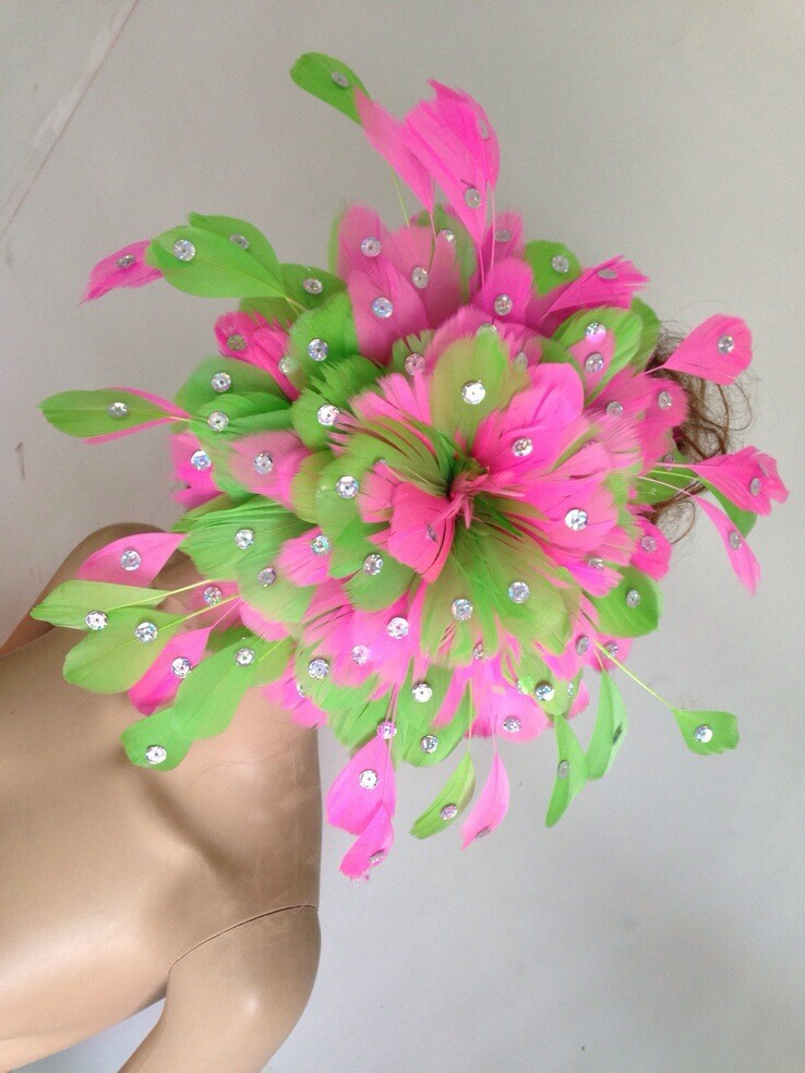 Headdress flower carnival party Feather headdress flower Stage performance