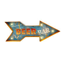 Welcome To The Pub Beer Bar Neon Signs Vintage Home Wall Decorative Led Advertising Signboard Hanging Arrow Metal Signs YN097