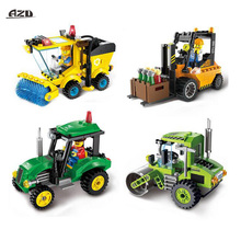 City Police Series Urban Sweeper Tractor Forklift Road Roller Car Building Blocks Sets DIY Construction Bricks Kits Children Toy