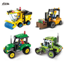 City Police Series Urban Sweeper Tractor Forklift Road Roller Car Building Blocks Sets DIY Construction Bricks Kits Children Toy(China)