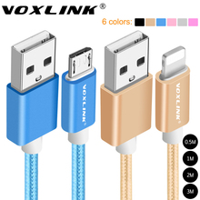 VOXLINK 1m/2m/3m Nylon Braided Micro USB Cable Charging Sync Data USB Cable For iphone 7 6 6s Plus 5s ipad mini Samsung HTC LG
