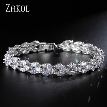 ZAKOL Trendy Marquise Cut Clear Top Quality Cubic Zircon Bracelets & Bangles Sliver Color For Party FSBP130