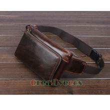 2017 Men Oil Wax Genuine Leather Cowhide Vintage Travel Cell/Mobile Phone Hip Bum Belt Pouch Fanny Pack Waist Purse Bag