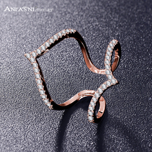 ANFASNI Latest Design Fashion Long Ring Double V Shaped with Paved Cubic Zriconia Engagement Ring Jewelry For Women CRI1030