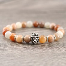Women's Stone Charm Bracelet Lion Head Energy Beaded Bangles Genuine Natural Stone Leo Gift for Men Cousin Healing Jewelry