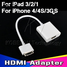 Kebidu 30Pin Dock Connector to HDMI Adapter Converter Cable For iPad 2/3 For iPhone 4/4S For iPod Touch HDTV 1080P(China)