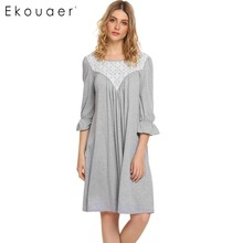 Ekouaer Elegant Lace Nightwear Autumn Puff Sleeve Patchwork Shift Nightgown Women Sleeping Home Dress Nightdress Loose Sleepwear(China)