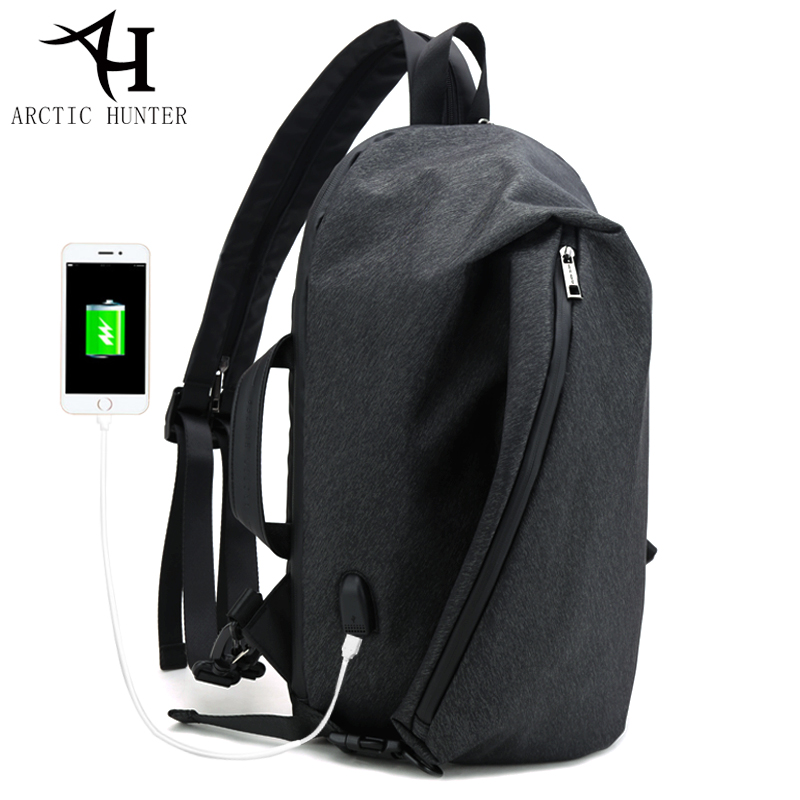 ARCTIC HUNTER Vintage design Casual three uses Crossbody Bags USB Charger Male Chest Bag shoulder back pack Bags for men<br>