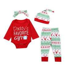 Newborn Clothing Set Baby Boys Girls Christmas Xmas Clothes Romper Tops+Pants Leggings+Hat +Headwear Outfits Suit