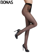 BONAS Large Size Black Nylons Lady Tights Summer Women T Crotch Elasticity Seamless Pantyhose For Girls Thin Solid Color Female(China)