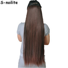 S-noilite US Stock Clip in on Hair Extensions 3/4 Full Head 5 Clips ins Straight Hair Extention Synthetic Salon hairpiece(China)
