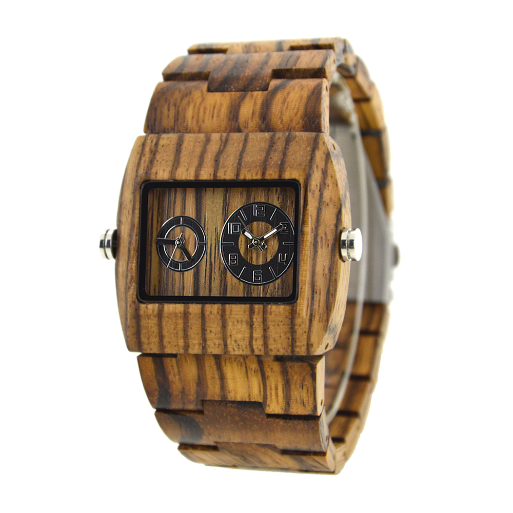 Top Brand Luxury BEWELL Double Movement And Dial For Different Timezone Wooden Watch For Bussiness Man And Business Travel 021C <br>