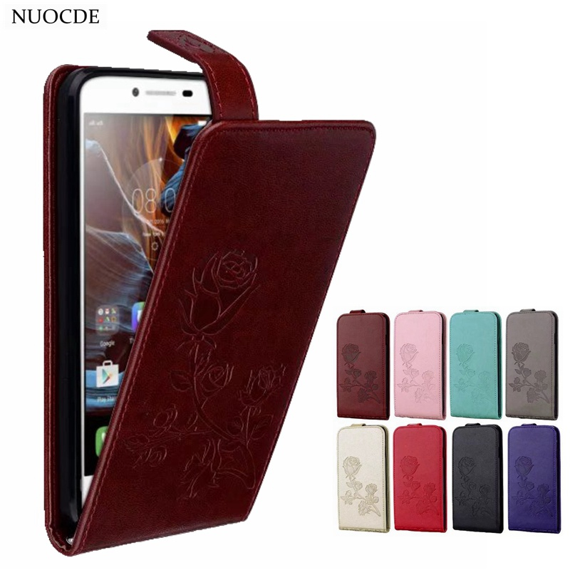 "NUOCDE Vintage Flip PU Leather Case Lenovo Vibe K5 Embossed Roses Wallet Phone Cover Lenovo A6020 A6020a40 5.0"" Fundas"