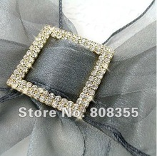 Free shipping--10pcs A-GRADE Gold Double Row Square Diamante Rhinestone Big Buckle For Organza Chair Sash Wedding Favor Decor