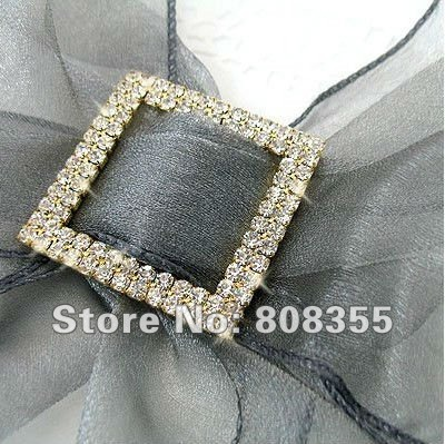 Free shipping--10pcs A-GRADE Gold Double Row Square Diamante Rhinestone Big Buckle For Organza Chair Sash Wedding Favor Decor(China (Mainland))