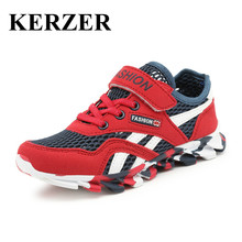 KERZER 2017 New Summer Child Sport Shoes Mesh Walking Running Sneakers Boys Girls Trainers Red Pink Kd Shoes Cheap Footwear