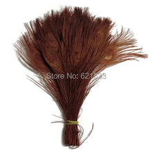 Brown Peacock Tails,100pcs/lot - BROWN Bleached and Dyed Tails Peacock Feathers 25-30cm long(China)