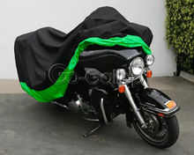 XXXL Black/Green Motorcycle Cover for Harley Ultra Tour Electra Glide Classic/For Honda Goldwing GL 1100 1200 1500 1800(China)