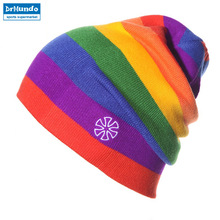 604b9ea70df Winter Men Ice Skating Cap Rainbow Snowboard Hat Outdoor Double Knit Warm  Ski Skull Cap Beanie