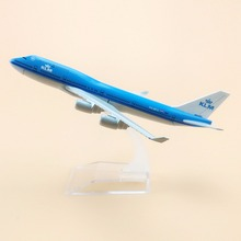 16cm Alloy Metal AIR KLM B747 Airlines Plane Model Boeing 747 400 Airways Airplane Model W Stand Aircraft  Gift