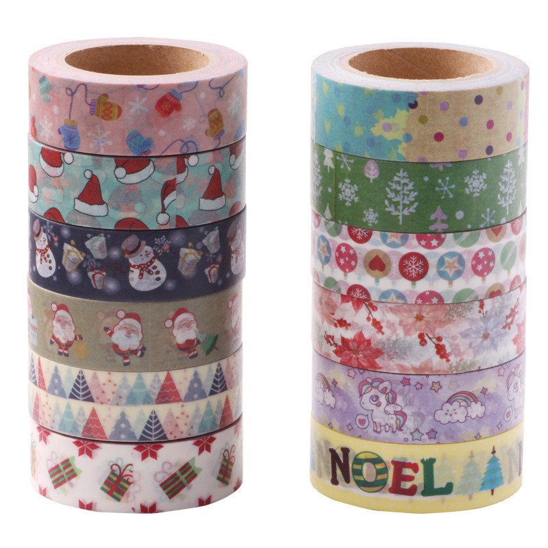 Merry Christmas Deco Adhesive Washi Tape Fabric Cute Washitape Wash Papeleria School Stationery Store Escritorio Stationary Item(China)